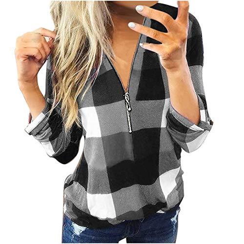 YANFANG Camisas y Blusas Informales de Manga Larga con Cuello en V y Estampado de Lino a la Moda para mujerCamiseta, Unisex, Ropa Urbana (Black02021, M)