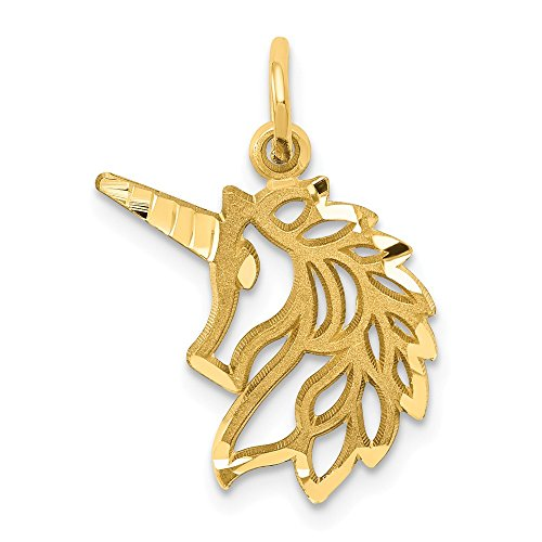 14k Yellow Gold Unicorn Head Pendant Charm Necklace Animal Fine Jewelry For Women Gifts For Her