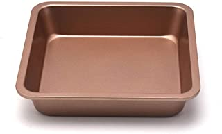 8-Inch Chef's Classic Nonstick Bakeware Square Cake Pan, Roasting Pan & Brownie Pan, Champagne Gold
