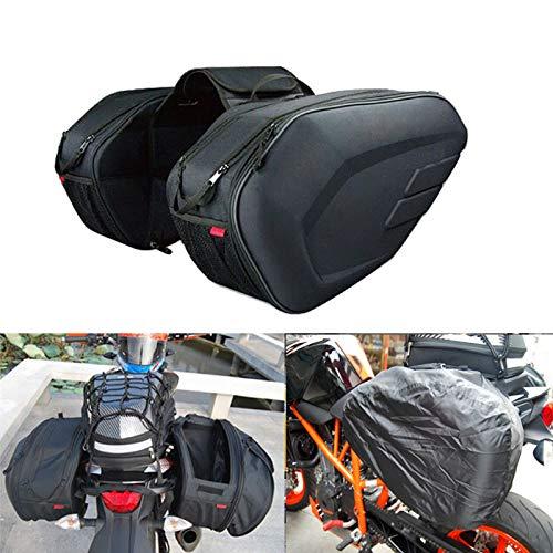 Maleta de Equipaje de Cola de Moto Impermeable Bolsa de Montar de Montura Motorcycle Side Casco Montar Bolsas de Viaje con Cubierta de Lluvia (Color Name : Black)