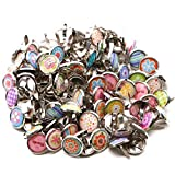 Timoo Round Paper Fasteners, 12MM Metal Brads Fasteners Mixed Colors Mini Brads for Scrapbooking Crafts DIY Paper, 100 Pcs