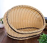 HUAHOO Pet Plastic Imitation Rattan Bed Four Seasons Comfortable Cat Dog House Washable Covered Modern Dog Cat Hedeaway Hut of Rarran House Pets in Dome Basket