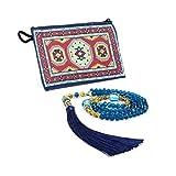 Special for Women Muslim Prayer Beads, 99 Beads -(8x6 mm 99 Beads) Tesbih-Tasbih-Tasbeeh-Misbaha-Masbaha-Subha-Sebha-Sibha-Worry Beads (Blue Cryst)