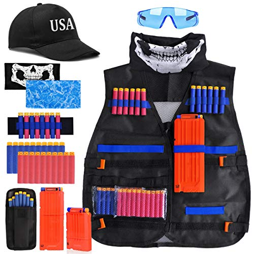 Tactical Vest Kit - Kids Tactical Jacket Vest for Nerf Guns N-Strike Elite Series with Tactical Face Mask, 2 Reload Clips, Wrist Band, Safety Glasses and Foam Bullets Darts for Boys Age 7 8 9 10