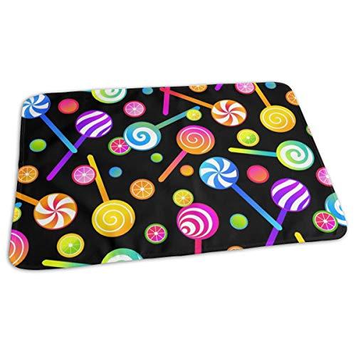 Lolly's en fruit snoepjes op zwart bed pad wasbaar waterdichte urine pads voor baby peuter kinderen en volwassenen 27.5 x19.7 inch