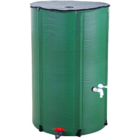 Hommoo 66 Gallon Folding Rain Barrel Water Catcher Container Portable Water Storage Tank with 500D PVC Mesh Cloth,Green