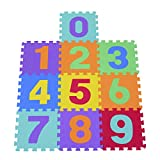 HOMCOM Alfombra Puzle 0.93㎡ Niños 10 Numeros Espuma EVA Estera Juego Puzzle
