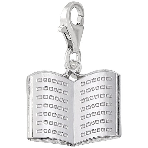 Sterling Silver Book Charm With Lobster Claw Clasp, Charms for Bracelets and Necklaces