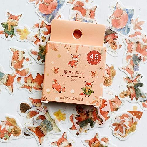 PMSMT 45 unids/Pack Lindo Zorro y Hojas de Arce Pegatina de Papel Adhesiva para Manualidades Etiqueta para Ordenador portátil DIY decoración niños Regalo papelería
