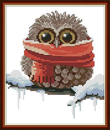 Awesocrafts - Kit de punto de cruz, diseño de búho, para Navidad, invierno, patrones fáciles de bordar, suministros de Navidad, con estampado o contado (búho 4, contado)