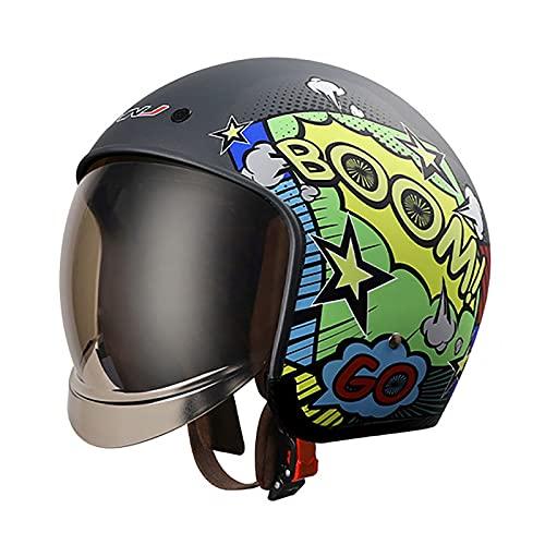 Casco de motocicleta con certificación DOT, para adultos, estilo retro, medio casco para scooter, ciclomotor, gorra de béisbol para hombres y mujeres, estilo Street Cruiser Jet B, L = 59 ~ 60 cm