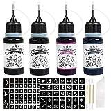 4 Bottles Temporary Tattoo Ink with 92pcs Tattoo Stencils, Waterproof Temporary Tattoo Kit for Men and Women, Semi Permanent Tattoo