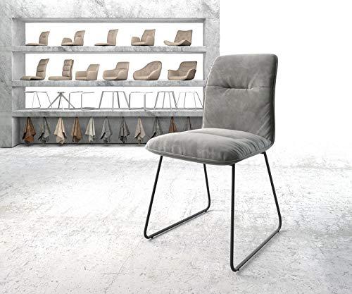 Preisvergleich Produktbild DELIFE Stuhl Vinjo-Flex Kufengestell schwarz Samt Grau