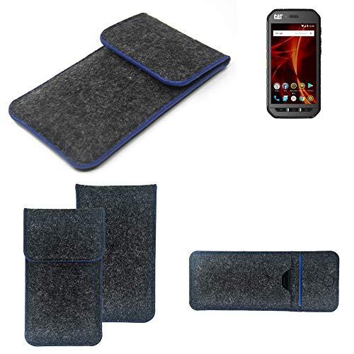K-S-Trade® Handy Schutz Hülle Für Caterpillar Cat S41 Dual-SIM Schutzhülle Handyhülle Filztasche Pouch Tasche Case Sleeve Filzhülle Dunkelgrau, Blauer Rand