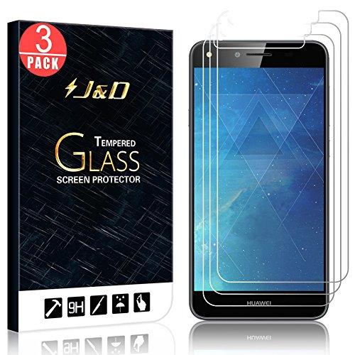 J&D Compatible para 3 Paquetes Huawei Y6 II Compact Protector de Pantalla, [Cristal Templado] [NO Cobertura Completa] HD Claro Vidrio Balístico Protector de Pantalla para Huawei Y6 II Compact