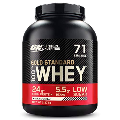 Optimum Nutrition ON Gold Standard Whey Protein Pulver, Eiweißpulver Muskelaufbau mit Glutamin und Aminosäuren, natürlich enthaltene BCAA, Cookies & Cream, 71 Portionen, 2,27kg