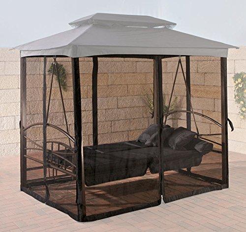 CLP Insektenschutz für Hollywoodschaukel Kenia I Moskitonetz für Outdoor-Schaukel I Netzvorhang Gartenschaukel, Farbe:schwarz
