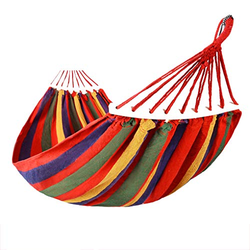 Floridivy Outdoor Travel Multicolor Rainbow Striped Hangmat 2 van 2 personen persoon Hangende Bed Backpacken Canvas Swing Hangmat