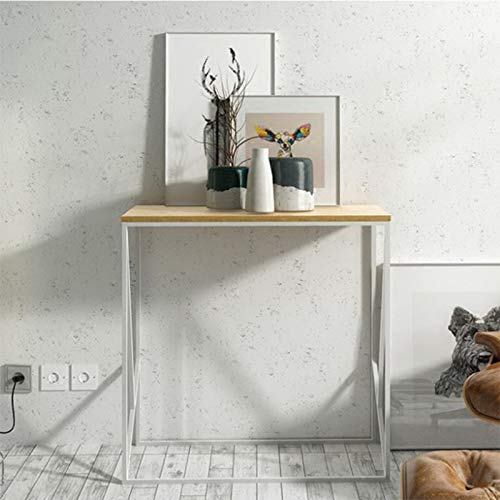 HOUSEHOLD Industrial console console table, narrow solid wood and metal frame entrance furniture, stable home side coffee table against the wall corridor, for living room/corridor/entrance