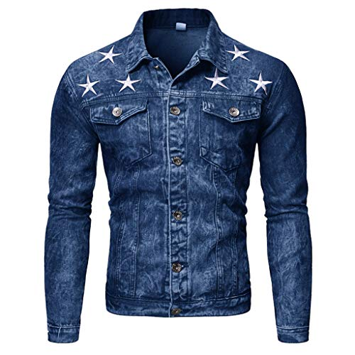 Save %59 Now! Men Denim Jacket Slim Fit Vintage Western Boy Button Down Autumn Winter Classic Trucke...