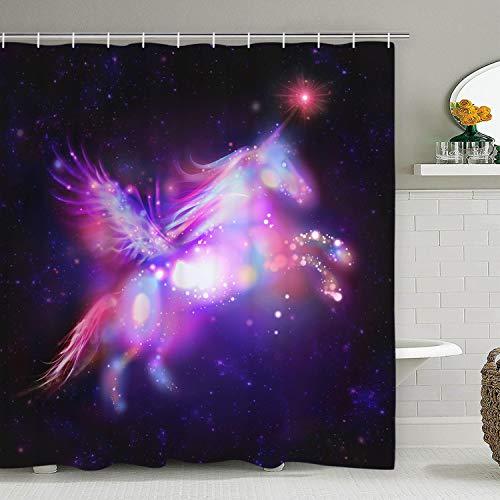 Alishomtll Kinder Duschvorhang, Einhorn Duschvorhänge Textil Waserdichter Stoff Shower Curtains mit 12 Haken, 175 x 178 cm