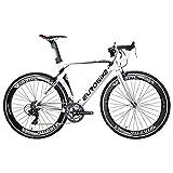 Eurobike XC7000 Road Bike 54 cm Light Aluminum Frame 14 Speed 700C Road Bike Bicycle White