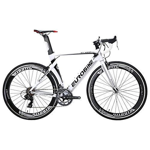 Eurobike XC7000 14 Speed 54 cm Light Aluminum Frame Road Bike Fashion 700C Racing Bicycle White