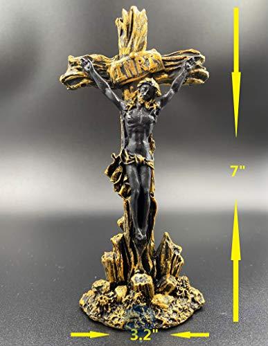 Mindful Houseware LLC MIDNFUL Antique Jesus Christ Crucifix INRI Standing Figurine (Gold/Black) Home Decoration Statue