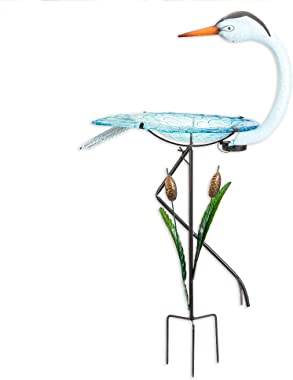 Bits and Pieces -  Solar Powered Crane Birdbath - Outdoor Metal Bird Bath Statue - Garden or Yard Décor Sculpture