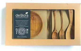 مجموعة هدايا دي بويس 3: ملعقة أرز وشوكة للحلوى، طبق خشبي 5 بوصات و8 بوصة: حجم الصندوق: 21 × 40 × 5 سم طقم هدايا من أجل الس...