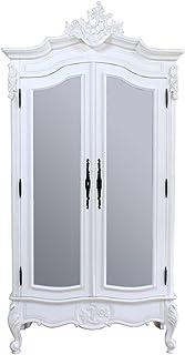 Homes r us ANTIQ LOUIS Collection 2-Door Wardrobe, Antique White - 110 x 60 x 230 cms