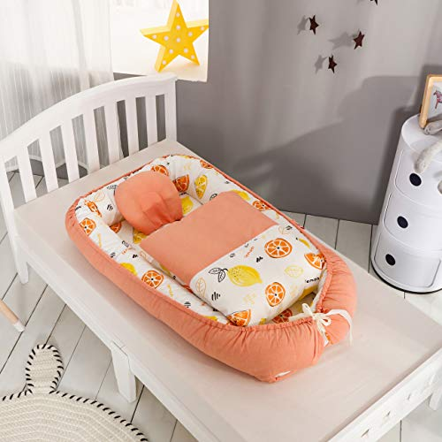 Traddy Baby Bassinet for Bed Breathable & Hypoallergenic Co-Sleeping Baby Nest - 100% Cotton Portable Crib for Bedroom/Travel