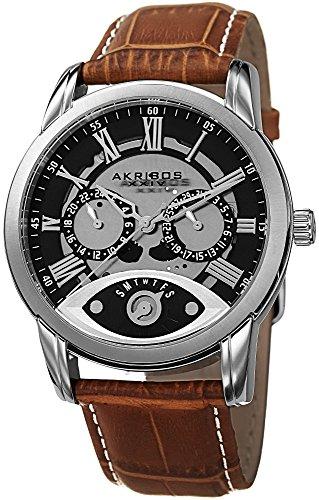 Akribos XXIV Men's Beveled Bezel Multifunction Watch - 2 Subdials Plus Retrograde Day Subdial On Calfskin Leather Strap - AK725