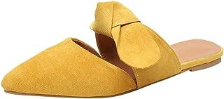 Mule for Women - Women's Pointed Toe Ballet Flat Comfort Slip On Cute Bow Tie Mule Shoes