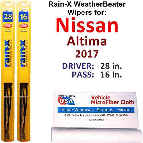 Rain-X WeatherBeater Wiper Blades for 2017 Nissan Altima Set Rain-X WeatherBeater Conventional Blades Wipers Set Bundled with MicroFiber Interior Car Cloth