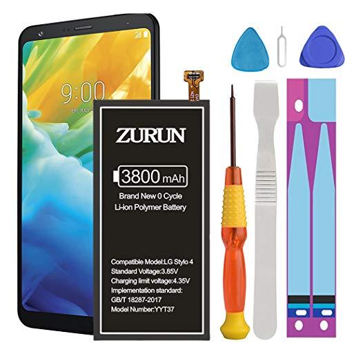 LG Stylo 4 Battery Upgraded ZURUN 3800mAh Li-Polymer Battery BL-T37 Replacement for LG Stylo 4 Q710 Q710AL Q710MS Q710TS Q710CS Q710AL Q710US with Repair Replacement Kit Tools.