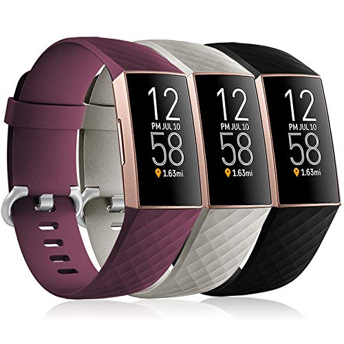 Maledan Bands Compatible with Fitbit Charge 3 and Fitbit Charge 4 Bands for Women Men, Waterproof Replacement Sport Band for Charge 4/Charge 3/Charge 3 SE Fitness Activity Tracker, 3 Pack Small