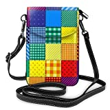 Pequeño teléfono celular bolso Crossbody Patchwork de colores arco iris monedero de cuero Crossbody bolsos bolso de hombro para las mujeres