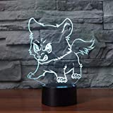 lampada 3D Lampada LED da Tavolo Illuminazione Luce di Notte Wolf puppies wolf Regali di Natale per Bambini, Uomini Con ricarica USB, cambio di colore colorato