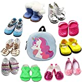 SOTOGO 10 Pairs of 18 Inch Doll Shoes and Doll Backpack Bag Fits for 18 inch American Dolls Include Boots Sandals Leather Shoes