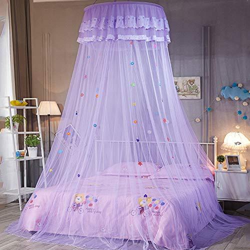 Auvent rond de dôme de dentelle de dentelle de filet de moustique de princesse pour la protection contre les insectes d'enfants volent la taille décorative 270cm / 106in (Pourpre)