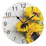 Gokruati Reloj de Pared silencioso,Reloj de Cocina,Relojes de Cuarzo silencioso Que no Hace tictac,para Sala de Estar,dormitorios,(Diámetro: 25 cm),Flor de Pared de Girasol Amarillo en Ramo