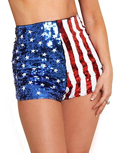 Arsimus USA Patriotic Star & Stripes Sequins Shorts (Medium)