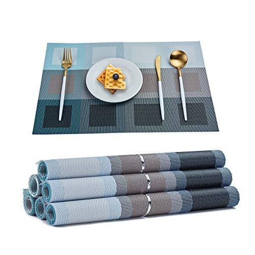 RICHTOP - Juego de 6 manteles Individuales de Vinilo Tejido, Aislante de Calor de PVC, Antimanchas, Antideslizantes, decoracion de Mesa de Comedor de Cocina