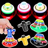 PROLOSO Spinning Top with Lights & Music Light Up Peg Tops LED Spin Toys Gyroscope Flashing Spinner Party Favors Pack of 12