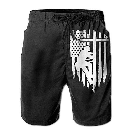 Hunter qiang USA Flag Crack Short de plage pour homme - Multicolore - XL