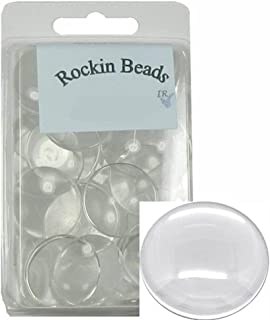 Rockin Beads Brand, 48 Clear Glass Dome Tile Cabochon Clear 25mm 1 Inch Non-calibrated Round