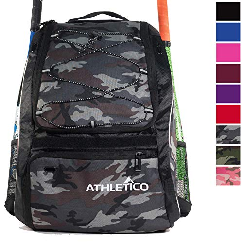 Athletico Baseball Bat Bag - Backpack for Baseball, T-Ball & Softball Equipment & Gear for Youth and Adults | Holds Bat, Helmet, Glove, Shoes |Shoe Compartment & Fence Hook (Gray Camo)
