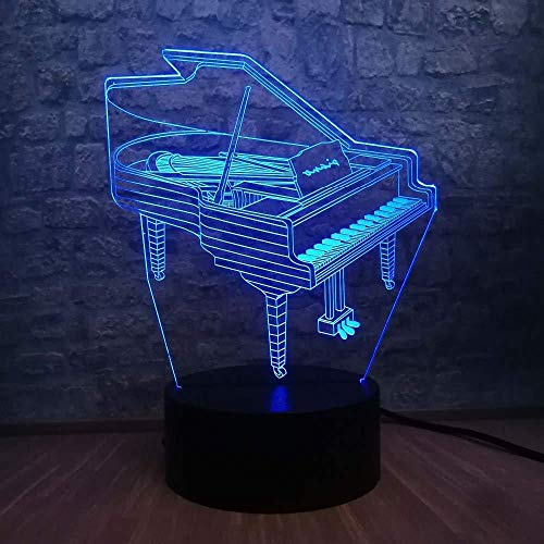 Office Table Accessories Christmas Gifts 3D Night Light Music Instrument Retro Piano 3D USB LED Lamp 7 Colors Bulb Musician Gift Child Bedroom Decoration Elegant Night Lights RGB Lava with Remote con