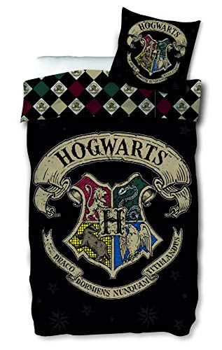 SkyBrands Harry Potter Bettwäsche 135x200 cm Kissenbezug 80x80 | Hogwarts Wende Bettwäsche-Set Baumwolle | Öko-Tex-Standard 100 Deutsche Standardgröße